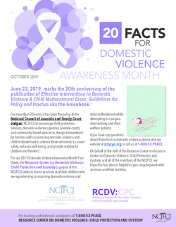 20 Facts for Domestic Violence Awareness Month - October 2019 Cover